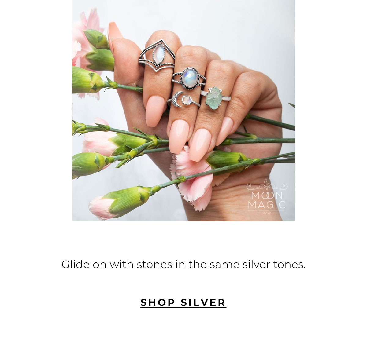Glide on with stones in the same silver tones. | SHOP SILVER
