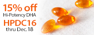 15% Off Hi-Potency Omega-3 DHA - HPDC16 thru Dec. 18