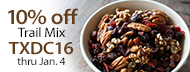 10% Off Organic Trail Mix - TXDC16 thru Jan. 4