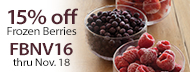 Certified Organic - 15% Off Frozen Berries - FBNV16 thru Nov. 18