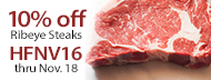 Organic, Grass-Fed - 10% Off Ribeye Steaks - HFNV16 thru Nov. 18