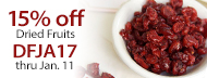 15% Off Organic Dried Fruits - DFJA17 thru Jan. 11