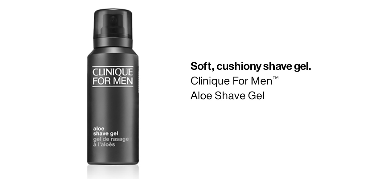 Gel de afeitar suave y acolchado.  Gel de afeitar con aloe de Clinique For Men ™
