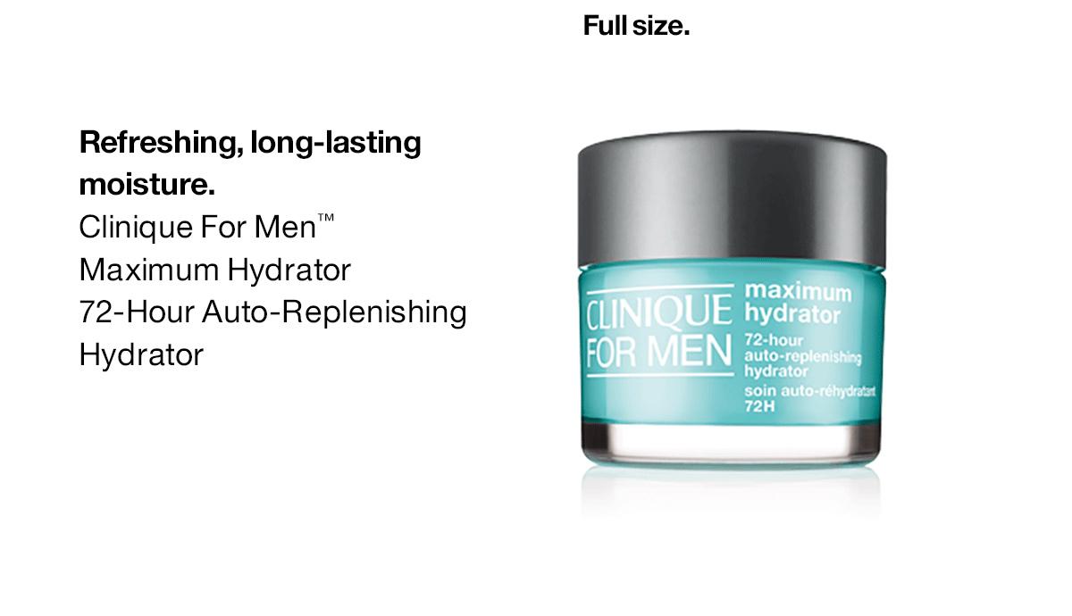Hidratación refrescante y duradera.  Hidratante Máximo de Clinique For Men ™ Hidratante de autorreposición de 72 horas.  Tamaño completo.