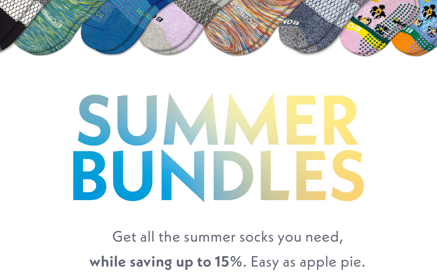 Summer Bundles | Get all the summer socks you need, while saving up to 15%. Easy as apple pie.