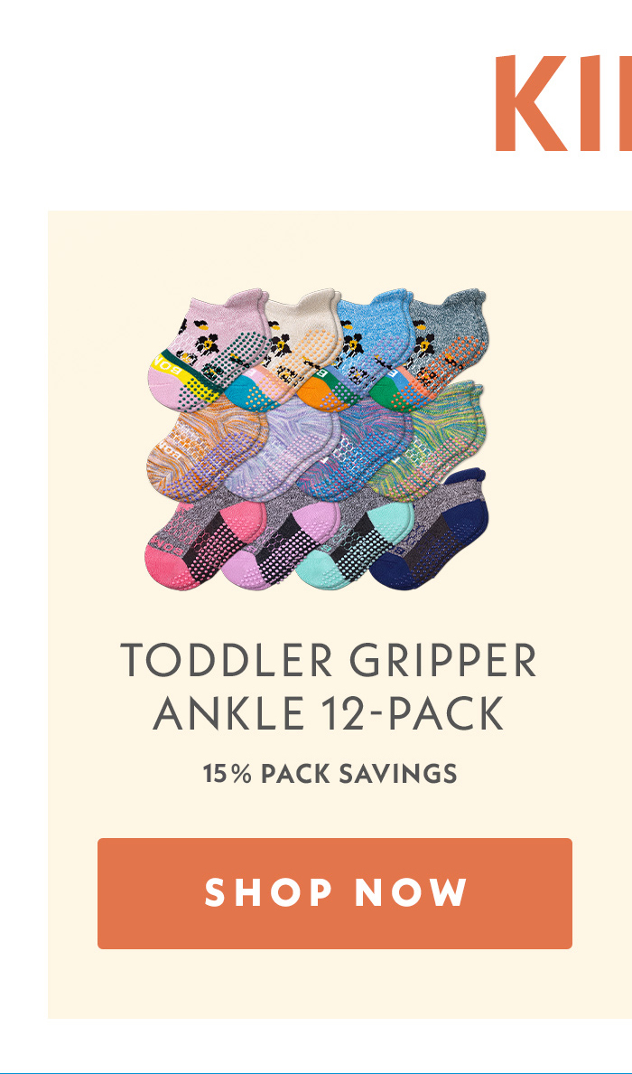 Kids | Toddler Gripper Ankle 12-Pack | 15% Pack savings | Shop Women