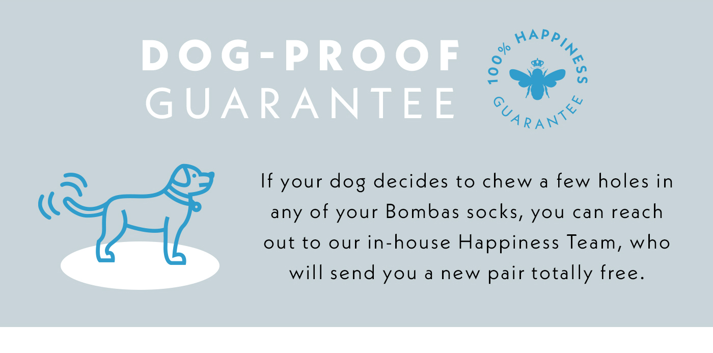 Dog-Proof Guarantee | If your dog decides to chew a few holds in any of your Bombas socks, you can reach out to our in-house Happiness Team, who will send you a new pair totally free.