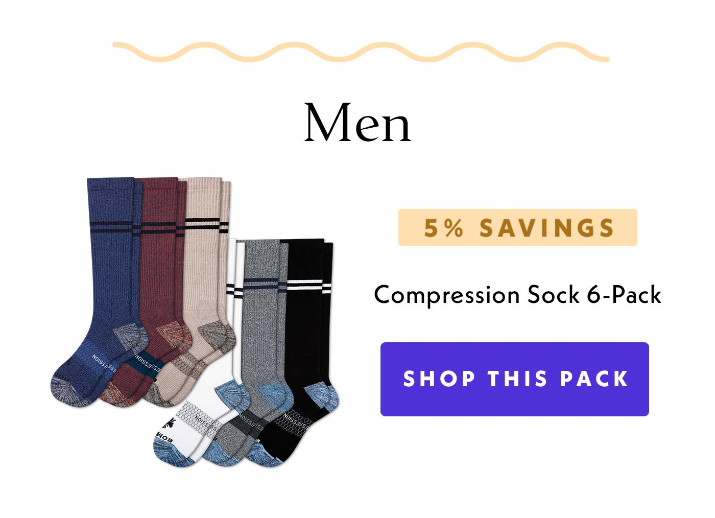 Men | 5% Savings | Compression Sock 6-Pack | Shop This Pack