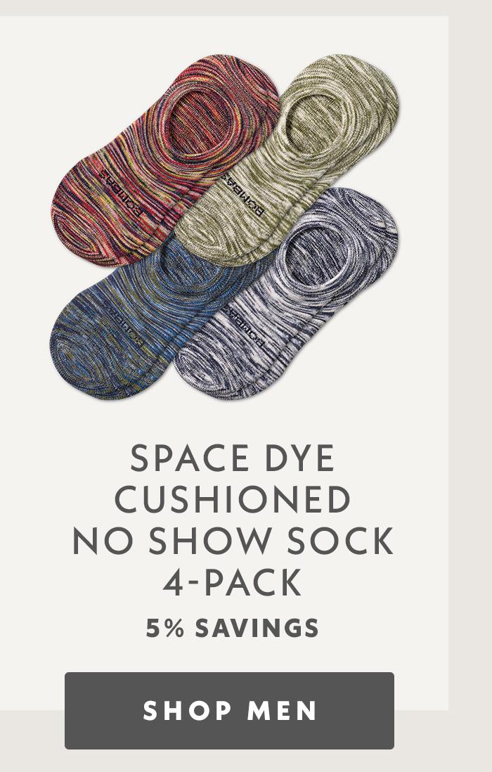 Space Dye Cushioned No Show Sock 4 Pack. shop men