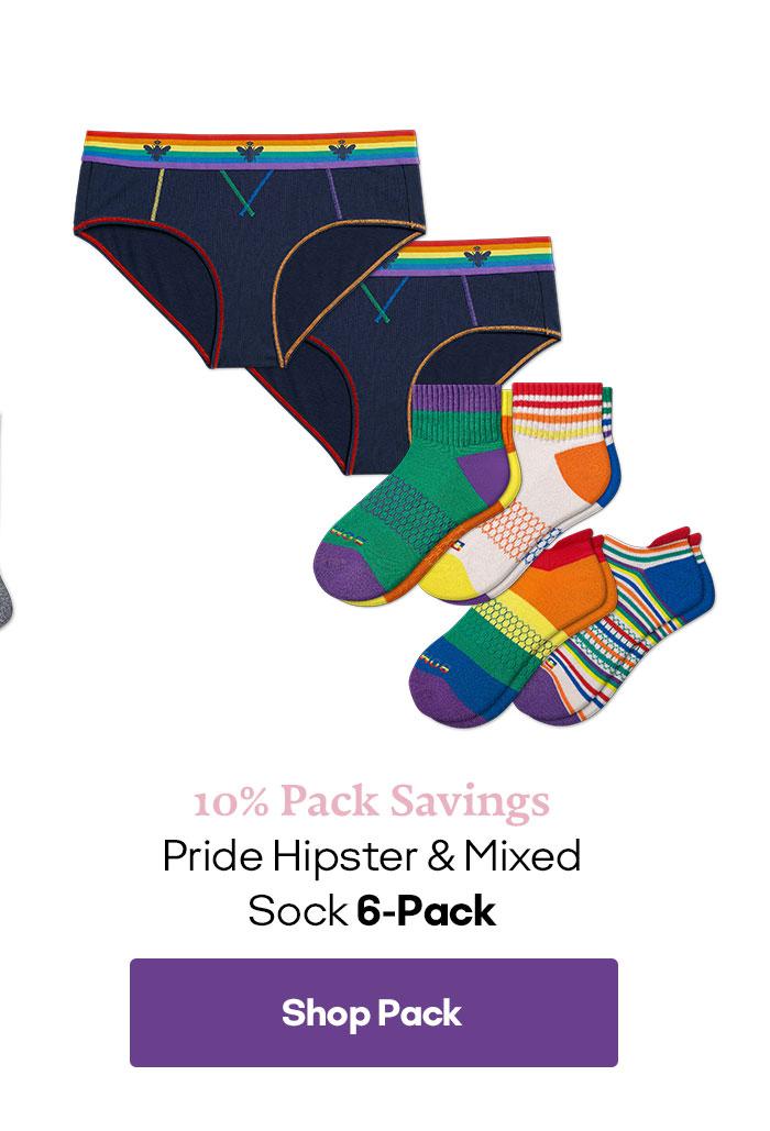 10% Pack Savings | Pride Hipster & Mixed Sock 6-Pack | Shop Pack