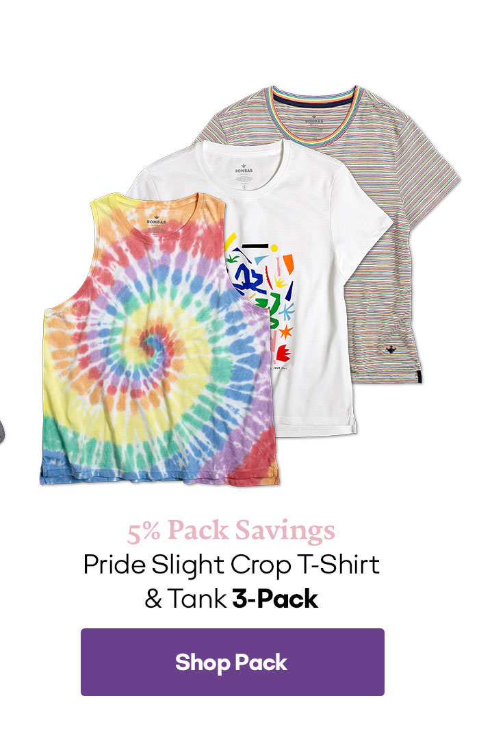 5% Pack Savings | Pride Slight Crop T-Shirt & Tank 3-Pack | Shop Pack